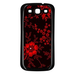 Small Red Roses Samsung Galaxy S3 Back Case (black) by Brittlevirginclothing