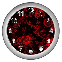 Small Red Roses Wall Clocks (silver)  by Brittlevirginclothing