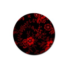 Small Red Roses Rubber Round Coaster (4 Pack)  by Brittlevirginclothing