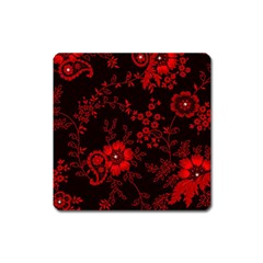 Small Red Roses Square Magnet by Brittlevirginclothing