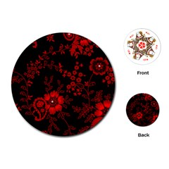 Small Red Roses Playing Cards (round)  by Brittlevirginclothing