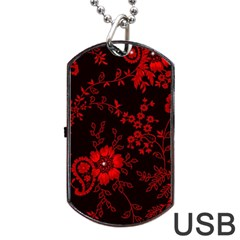 Small Red Roses Dog Tag Usb Flash (one Side) by Brittlevirginclothing