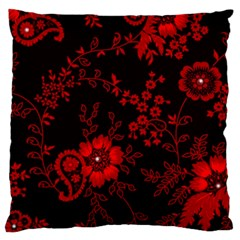 Small Red Roses Large Cushion Case (one Side) by Brittlevirginclothing