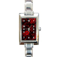 Small Red Roses Rectangle Italian Charm Watch by Brittlevirginclothing