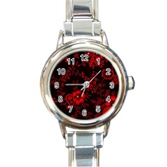 Small Red Roses Round Italian Charm Watch by Brittlevirginclothing