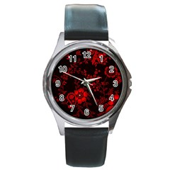 Small Red Roses Round Metal Watch by Brittlevirginclothing