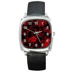 Small Red Roses Square Metal Watch by Brittlevirginclothing