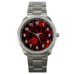 Small Red Roses Sport Metal Watch by Brittlevirginclothing