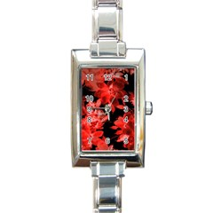 Red Roses  Rectangle Italian Charm Watch by Brittlevirginclothing