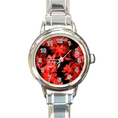 Red Roses  Round Italian Charm Watch by Brittlevirginclothing