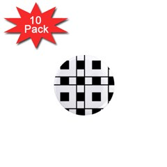 Black And White Pattern 1  Mini Magnet (10 Pack)