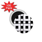 Black And White Pattern 1.75  Magnets (100 pack)  Front