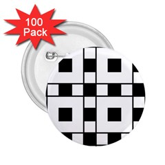 Black And White Pattern 2 25  Buttons (100 Pack)