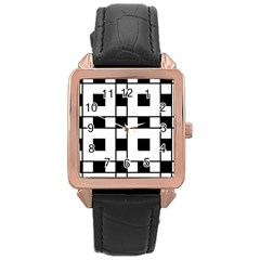 Black And White Pattern Rose Gold Leather Watch  by Amaryn4rt