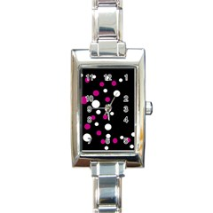 Pink And White Dots Rectangle Italian Charm Watch by Valentinaart
