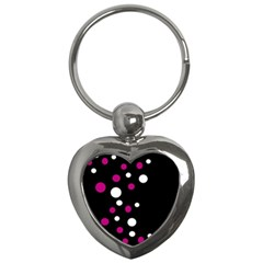 Pink And White Dots Key Chains (heart)  by Valentinaart