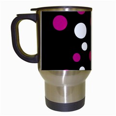 Pink And White Dots Travel Mugs (white) by Valentinaart