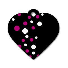 Pink And White Dots Dog Tag Heart (one Side)