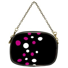 Pink And White Dots Chain Purses (one Side)  by Valentinaart