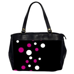 Pink And White Dots Office Handbags (2 Sides)  by Valentinaart