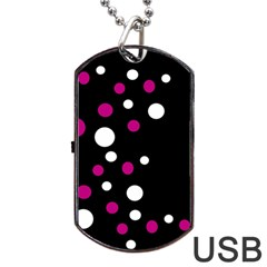 Pink And White Dots Dog Tag Usb Flash (two Sides)  by Valentinaart
