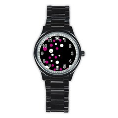Pink And White Dots Stainless Steel Round Watch by Valentinaart