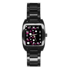 Pink And White Dots Stainless Steel Barrel Watch by Valentinaart