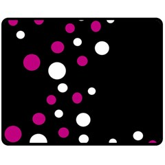 Pink And White Dots Double Sided Fleece Blanket (medium)  by Valentinaart