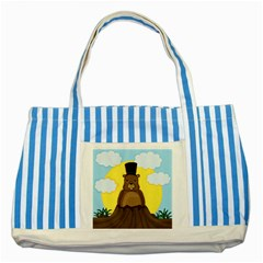 Groundhog Striped Blue Tote Bag by Valentinaart