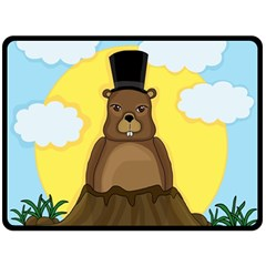 Groundhog Double Sided Fleece Blanket (large)  by Valentinaart
