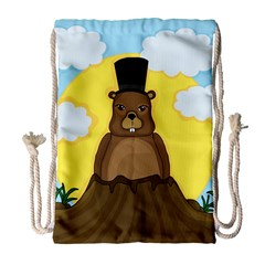 Groundhog Drawstring Bag (large) by Valentinaart