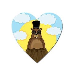 Happy Groundhog Day Heart Magnet