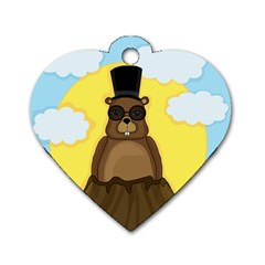 Happy Groundhog Day Dog Tag Heart (two Sides) by Valentinaart
