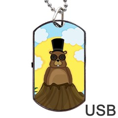 Happy Groundhog Day Dog Tag Usb Flash (two Sides)  by Valentinaart