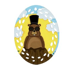 Happy Groundhog Day Oval Filigree Ornament (2 Side)  by Valentinaart