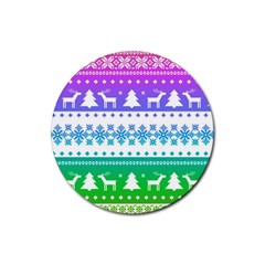 Cute Rainbow Bohemian Rubber Coaster (round)  by Brittlevirginclothing