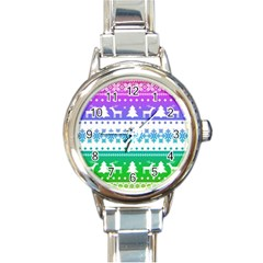 Cute Rainbow Bohemian Round Italian Charm Watch by Brittlevirginclothing