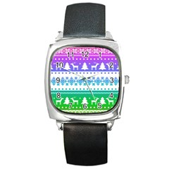 Cute Rainbow Bohemian Square Metal Watch by Brittlevirginclothing
