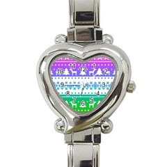 Cute Rainbow Bohemian Heart Italian Charm Watch by Brittlevirginclothing