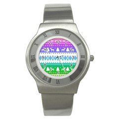 Cute Rainbow Bohemian Stainless Steel Watch by Brittlevirginclothing