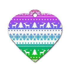 Cute Rainbow Bohemian Dog Tag Heart (two Sides) by Brittlevirginclothing