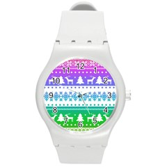 Cute Rainbow Bohemian Round Plastic Sport Watch (m) by Brittlevirginclothing