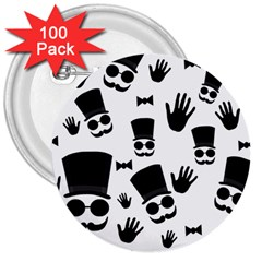 Gentlemen   Black And White 3  Buttons (100 Pack)  by Valentinaart