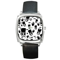 Gentlemen   Black And White Square Metal Watch by Valentinaart