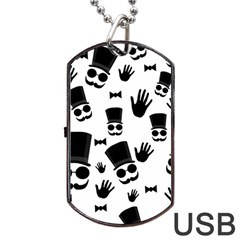 Gentlemen   Black And White Dog Tag Usb Flash (one Side) by Valentinaart