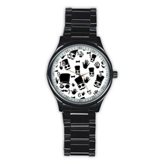 Gentlemen   Black And White Stainless Steel Round Watch by Valentinaart