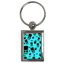 Gentlemen   Blue Pattern Key Chains (rectangle)  by Valentinaart