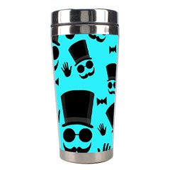 Gentlemen   Blue Pattern Stainless Steel Travel Tumblers by Valentinaart