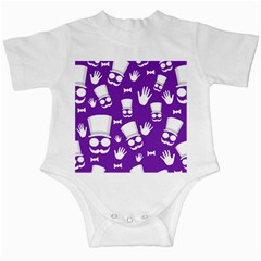 Gentleman Pattern   Purple And White Infant Creepers