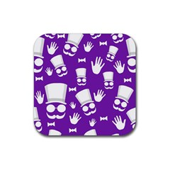 Gentleman Pattern   Purple And White Rubber Square Coaster (4 Pack)  by Valentinaart